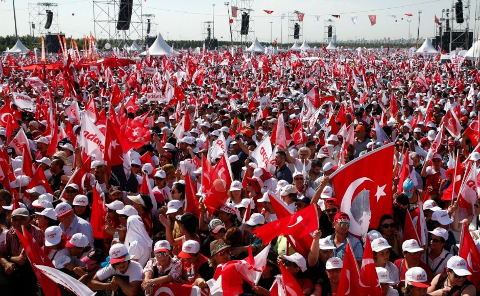 On Sunday, thousands of supporters marched into Istanbul in the final leg of the 25-day march against the government of President Recep Tayyip Erdogan. AP