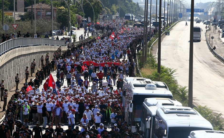 """The 400-kilometre (250-mile) """"March for Justice"""" began in Ankara on 15 June to criticisethe imprisonment of a party lawmaker but later grew into a movement for the citizens to voice their concerns over various government policies after July 2016's failed coup attempt. AP"""