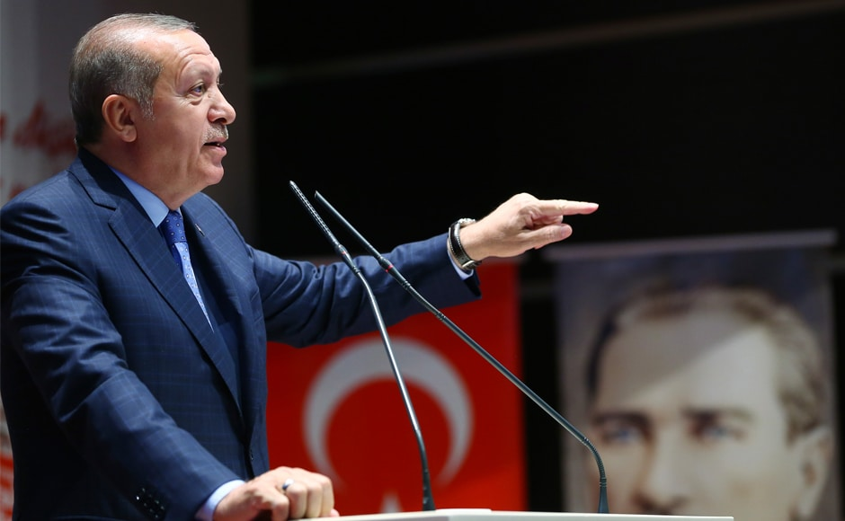 Erdogan delivers a speech acknowledging the coup. He also is scheduled to deliver a speech in parliament at 2.32 amlocal time on Sunday — the exact moment the assembly was attacked a year ago. AP