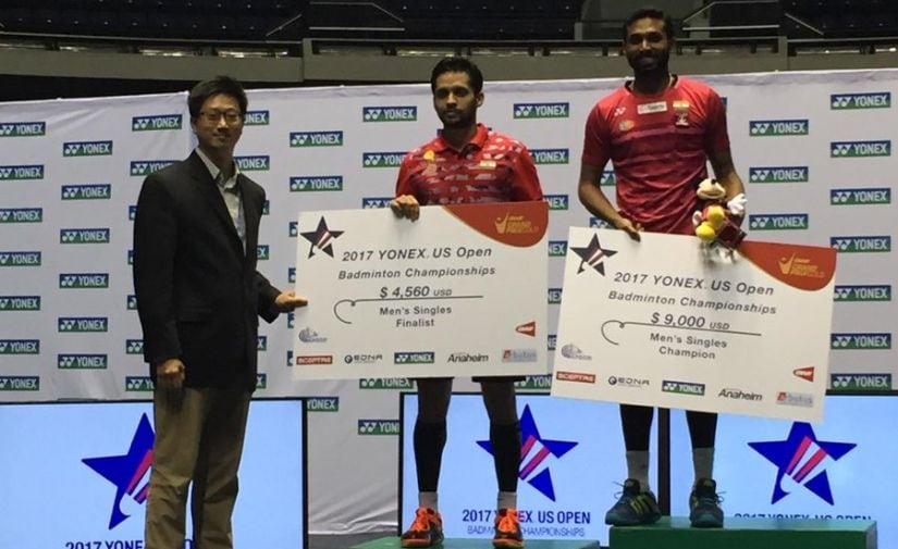 US Open winner HS Prannoy and runner-up Parupalli Kashyap on the podium after their final match. Image courtesy: Twitter/@USABadminton