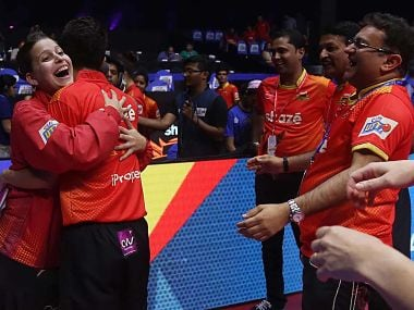 Shaze Challengers defeated Dabang Smashers TTC 14-9 to storm into final. Image courtesy: Facebook/ Ultimate Table Tennis
