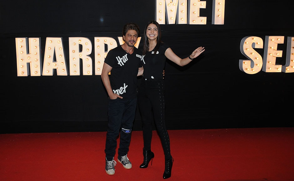 Shah Rukh Khan and Anushka Sharma coordinated their outfits. Both stars were in all-black, with t-shirts that read out the names of their characters, Harry and Sejal. Photo: Sachin Gokhale/Firstpost
