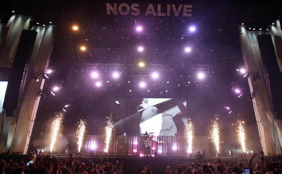 The Weeknd performs during day 1 of NOS Alive on July 6, 2017 in Lisbon, Portugal. (Getty Images)