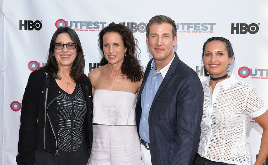 (L-R) Executive Producer Lori Kaye, actress Andie MacDowell, Christopher Racster and Lucy Mukerjee-Brown attend a screening of 'KEVYN AUCOIN: Beauty and the Beast in Me' at 2017 Outfest Los Angeles LGBT Film Festival at the Directors Guild of America in Los Angeles, California. (Getty Images)