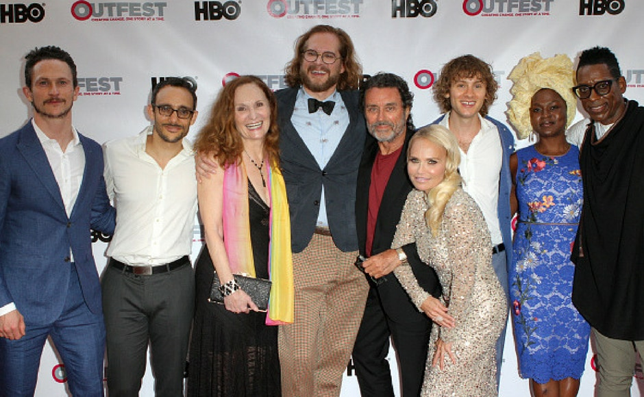 (L-R) Jonathan Tucker, Omid Abtahi, Beth Grant, Bryan Fuller, Ian McShane, Kristin Chenoweth, Bruce Langley, Yetide Badaki and Orlando Jones attend the opening night gala of 'God's Own Country' at the 2017 Outfest Los Angeles LGBT Film Festival at Orpheum Theatre in Los Angeles, California. (Getty Images)