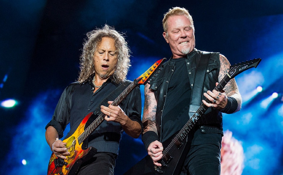 Kirk Hammett (L) and James Hetfield of Metallica perform at Festival d'ete de Quebec in Quebec City, Canada. (Getty Images)