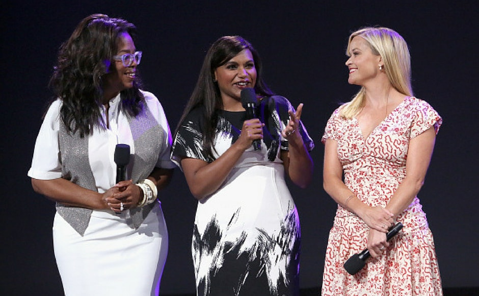 (L-R) Actors Oprah Winfrey, Mindy Kaling and Reese Witherspoon of A WRINKLE IN TIME took part today in the Walt Disney Studios live action presentation at Disney's D23 EXPO 2017 in Anaheim, Calif. A WRINKLE IN TIME will be released in U.S. theaters on March 9, 2018. (Getty Images)