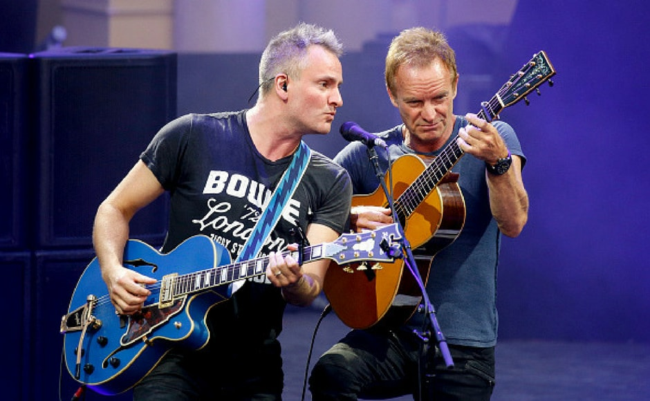 Sting and his son Joe Sumner perform on stage during the Thurn & Taxis Castle Festival 2017 in Regensburg, Germany. (Getty Images)