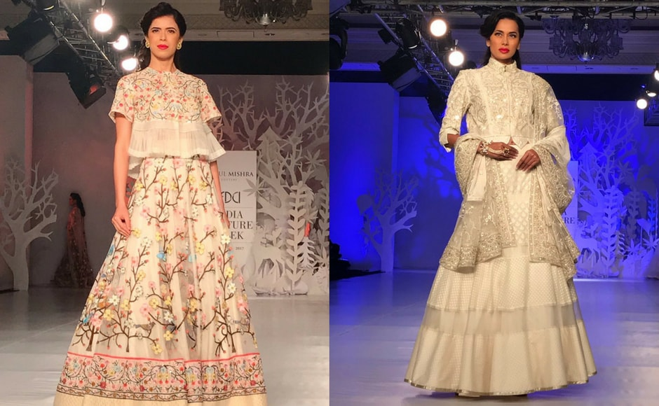 Couturier Rahul Mishra's collection Parizaad was a floral collection with understated bright hues. Intricate floral embroidery was the highlight of the collection. Image via FDCI/Twitter.