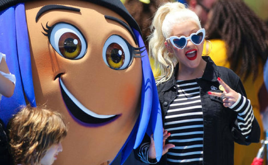 Christina Aguilera arrives at the World Premiere of The Emoji Movie at Los Angeles. She has voiced Akiko Glitter, a dancer emoji that lives inside the Just Dance app. (AP Photo)