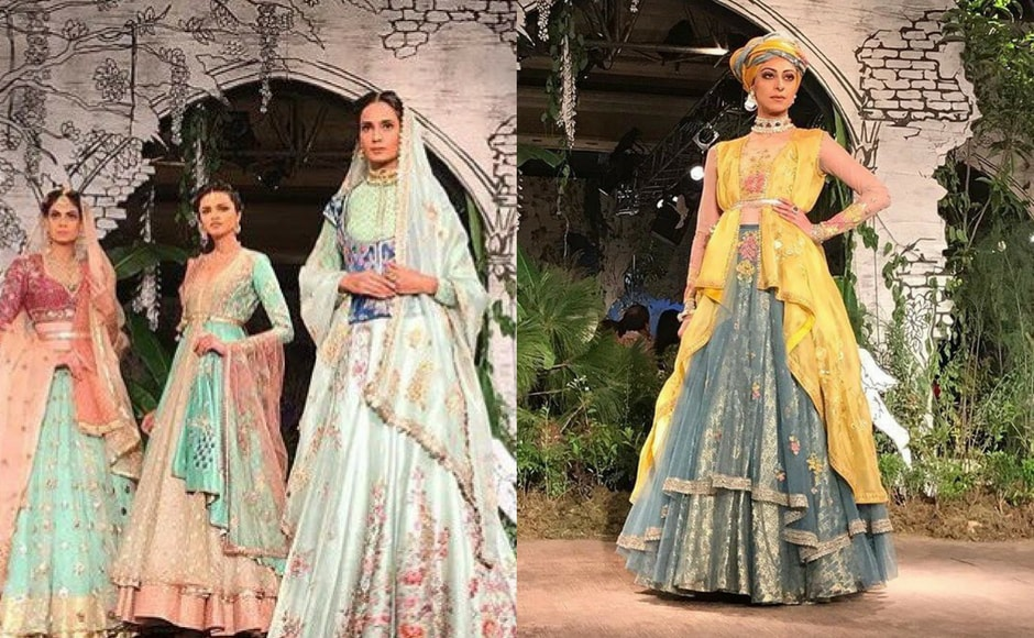 Anju Modi's collection, titled Sunehri Kothi, is a mix of bright pastel traditional Rajasthani bridal wear. Image via FDCI/Twitter