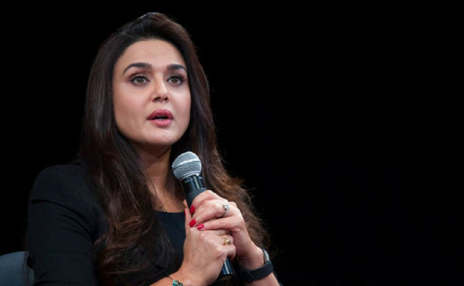 Preity Zinta, actor and Global Women's Advocate, speaks about protecting women in India, Friday, July 14, 2017, at the Asia Society in New York. (AP Photo)
