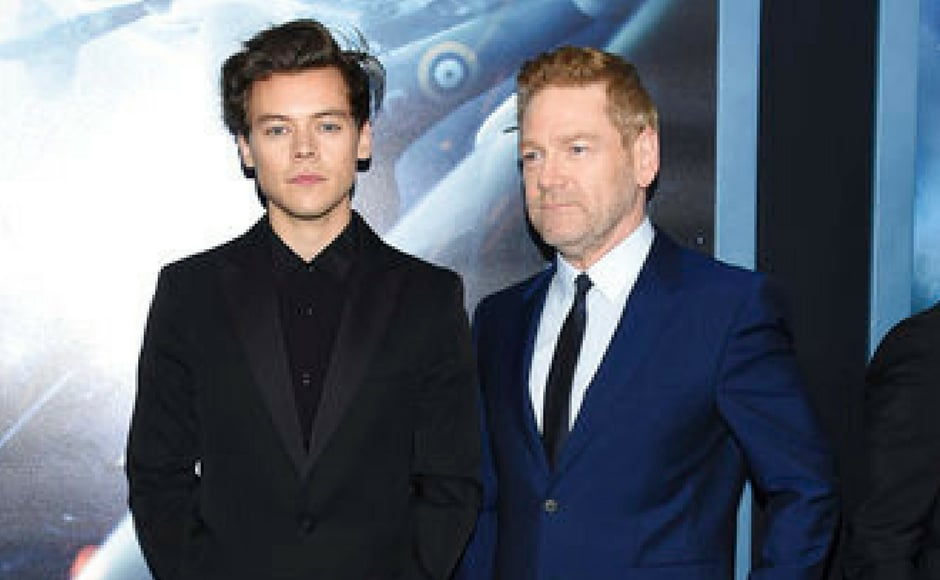 (L-R) Stars Harry Styles and Kenneth Branagh attend the premiere of Dunkirkin New York. (AP Photo)