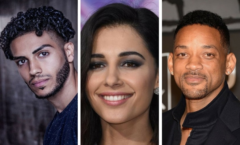 Mena Massoud, Naomi Scott and Will Smith. Images from Twitter.