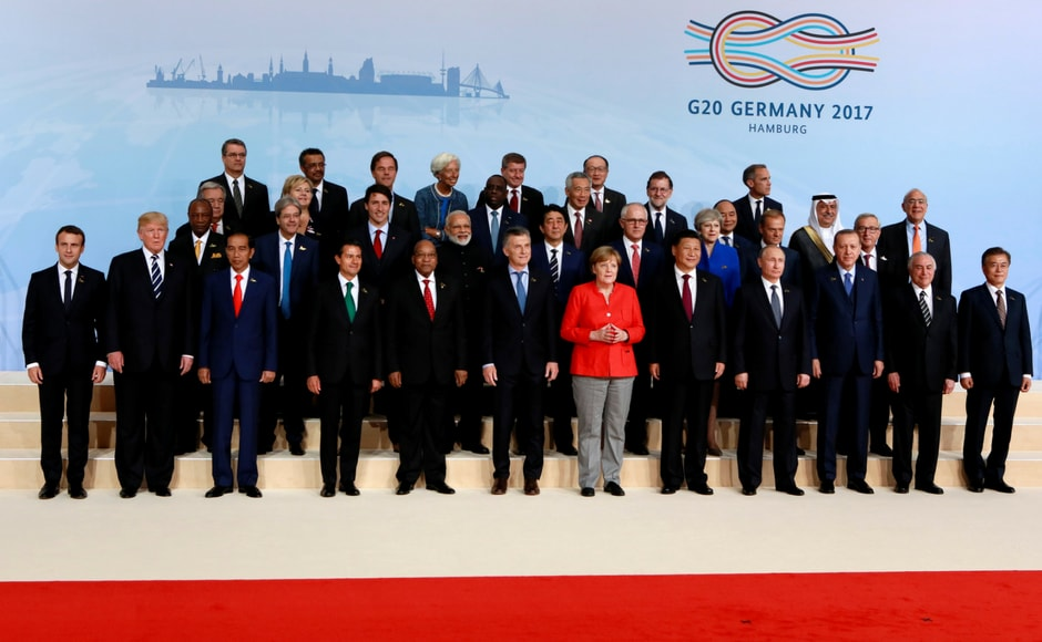 Leaders of the G20 nations pose for the traditional family photo at the G20 summit on Friday. Reuters