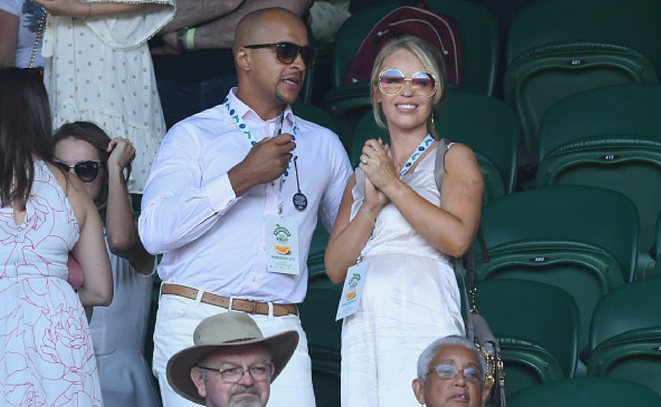 Richard James Sutton and Katie Piper attend day six of the Wimbledon Tennis Championships at the All England Lawn Tennis and Croquet Club on July 8, 2017 in London, United Kingdom. (Getty Images)