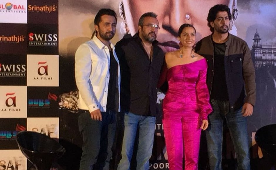 (L-R) Siddhanth Kapoor, Apoorva Lakhia, Shraddha Kapoor and Ankur Bhatia attend the trailer launch of biographical film Haseena Parkar in Mumbai on 18 July 2017. (Image via Twitter)