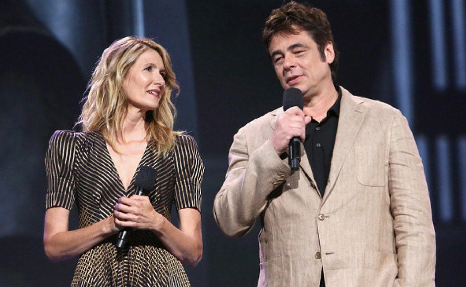 Actors Laura Dern (L) and Benicio del Toro of STAR WARS: THE LAST JEDI took part in the Walt Disney Studios live action presentation at Disney's D23 EXPO 2017 in Anaheim, Calif. STAR WARS: THE LAST JEDI will be released in U.S. theaters on December 15, 2017. (Getty Images)
