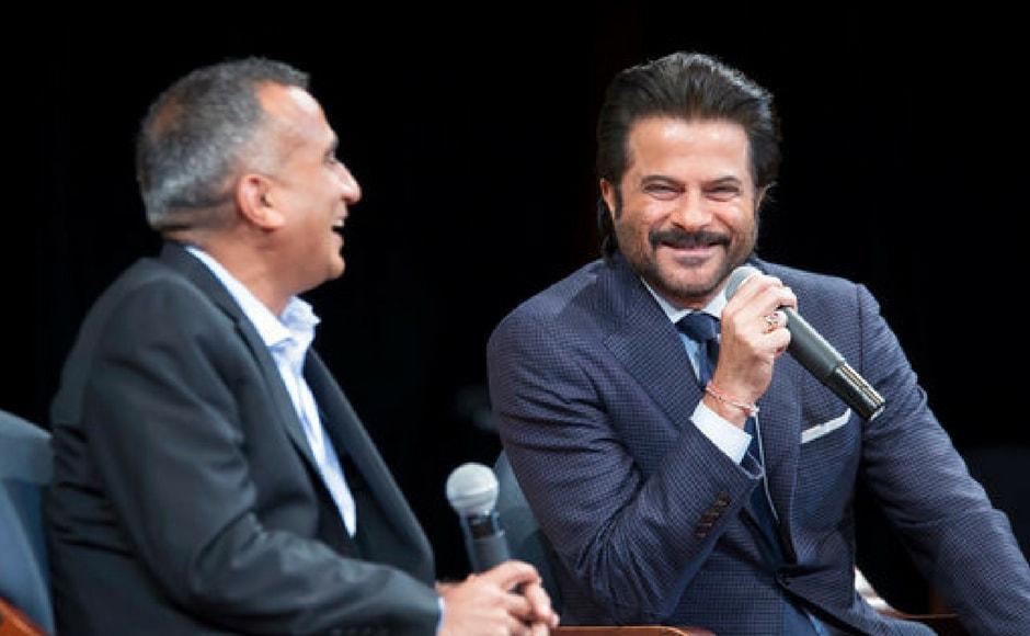 Sudhanshu Vats, left, Group CEO and Viacom 18, is joined by actor Anil Kapoor during Bollywood Fireside Chat at the Asia Society in New York. (AP Photo)