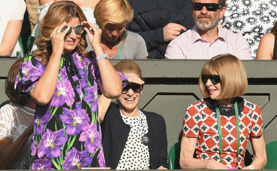Mirka Federer and Anna Wintour attend day six of the Wimbledon Tennis Championships at the All England Lawn Tennis and Croquet Club on July 8, 2017 in London, United Kingdom. (Getty Images)