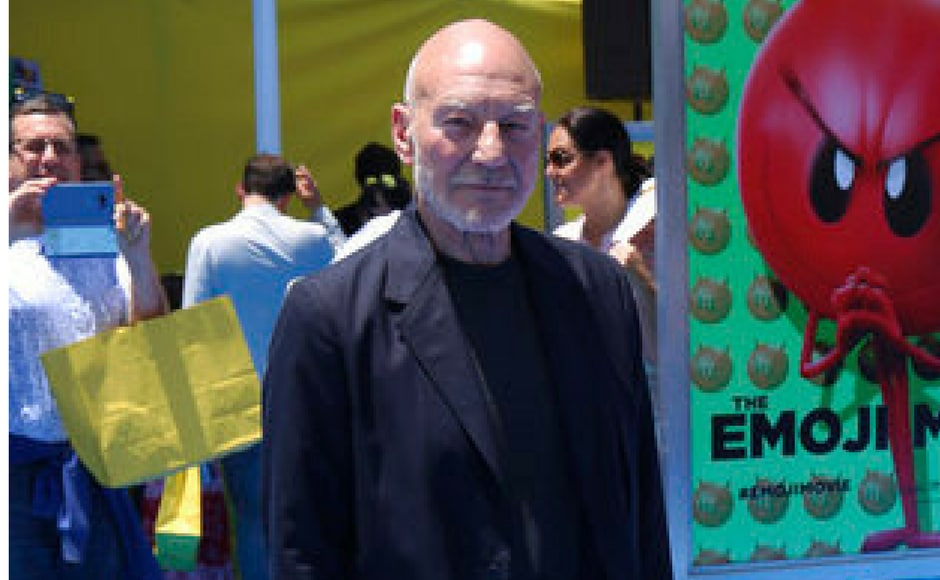 Patrick Stewart voices the poop emoji in the film. (AP Photo)