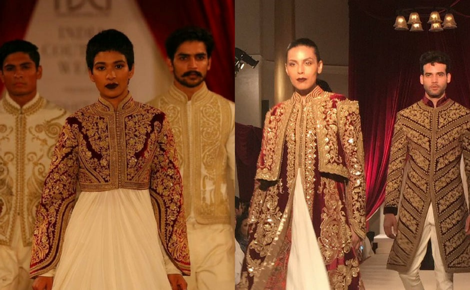 Rohit Bal's new collection, titled Shahaan-e-Khaas, showcased Indian formal designs with heavy zardosi work. Images via Rohit Bal/Instagram.