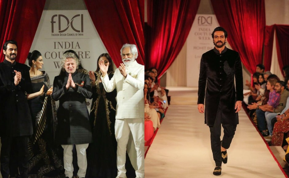 We also got a sneak peak into Rohit Bal's new collection. Sunil Sethi (the president of FDCI) and Arjun Rampal walked the ramp for the famous designer. Images via FDCI/Twitter