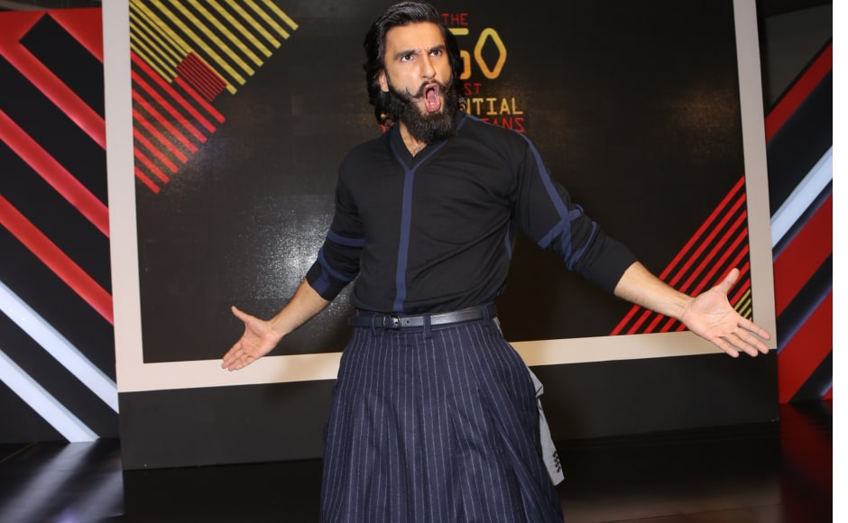 Ranveer was wearing a Rajesh Pratap Singh outfit as he flashed his trademark grin and entertained people withhis crazy antics as per usual.