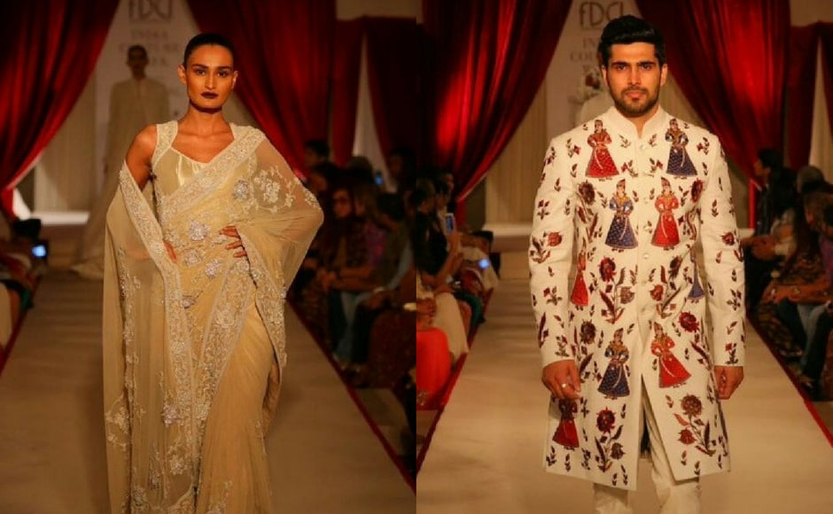 Jewel tones of gold and hues of maroon dominated Rohit Bal's new collection. Images via Rohit Bal/Instagram.