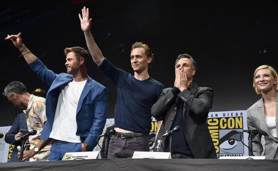 (L-R) Director Taika Waititi, actors Chris Hemsworth, Tom Hiddleston, Mark Ruffalo, Cate Blanchett from Thor: Ragnarok at the San Diego Comic-Con. (Getty Images)