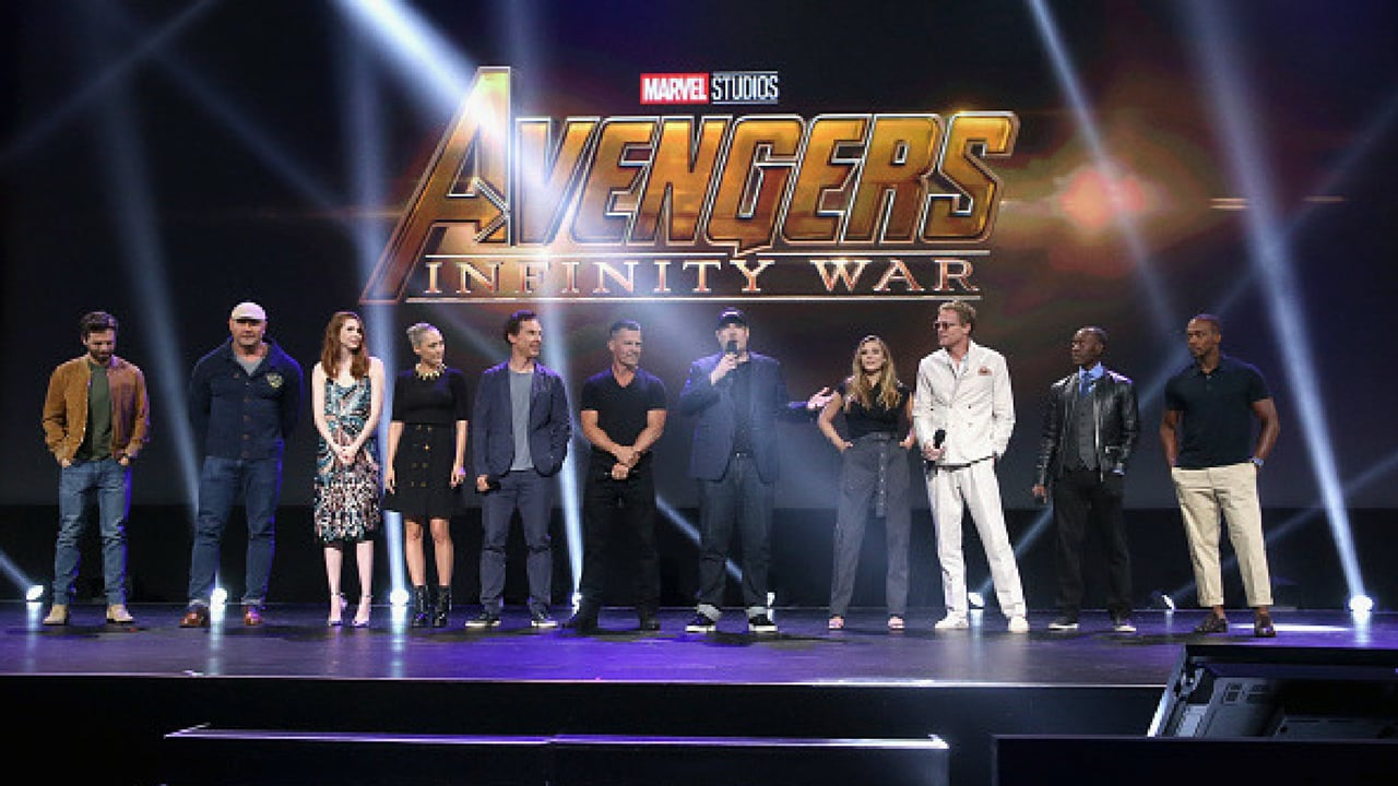 Actors Sebastian Stan, Dave Bautista, Karen Gillan, Pom Klementieff, Benedict Cumberbatch, and Josh Brolin, producer Kevin Feige, and actors Elizabeth Olsen, Paul Bettany, Don Cheadle, and Anthony Mackie of AVENGERS: INFINITY WAR took part today in the Walt Disney Studios live action presentation at Disney's D23 EXPO 2017 in Anaheim, Calif. AVENGERS: INFINITY WAR will be released in U.S. theaters on 4 May 2018. (Getty Images)