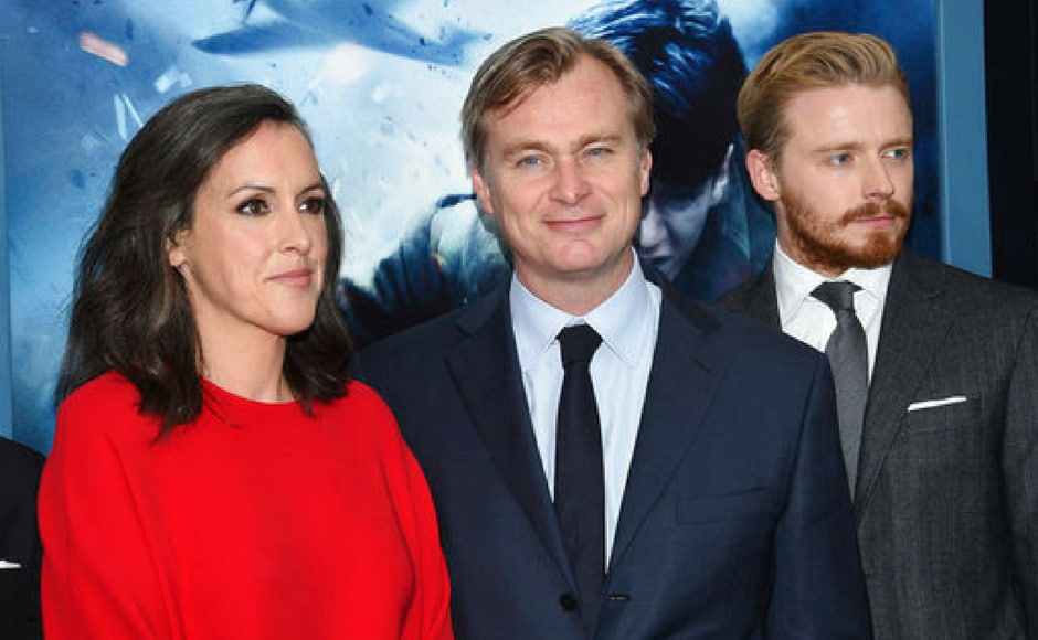 (L-R) Emma Thomas, director Christopher Nolan and Jack Lowden attend the New York premiere. (AP Photo)