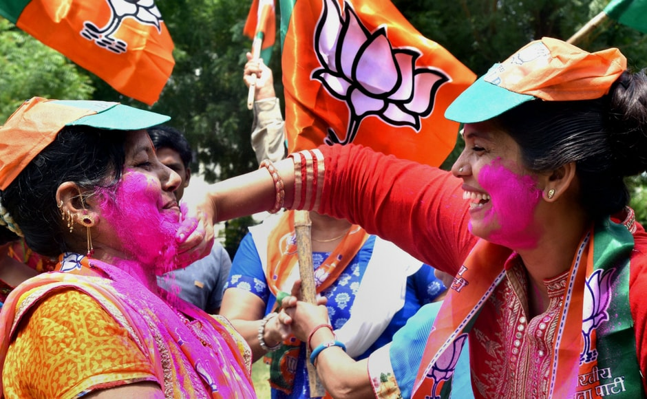 BJP supporters celebrate after Ram Nath Kovind was elected as the President of India, in Bikaner on Thursday. Kovind won by 66 percent votes against Opposition candidate Meira Kumar who got 34 percent votes.PTI