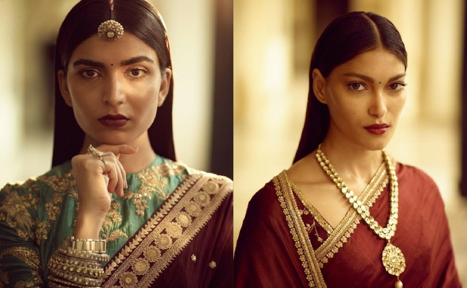 Sabyasachi says 'the Heritage Collection' is for the 'global nomad.' He uses his favourite red silk matka sari and juxtaposes it against uncomplicated jewelry. Image via Sabyasachi Mukherjee/Instagram