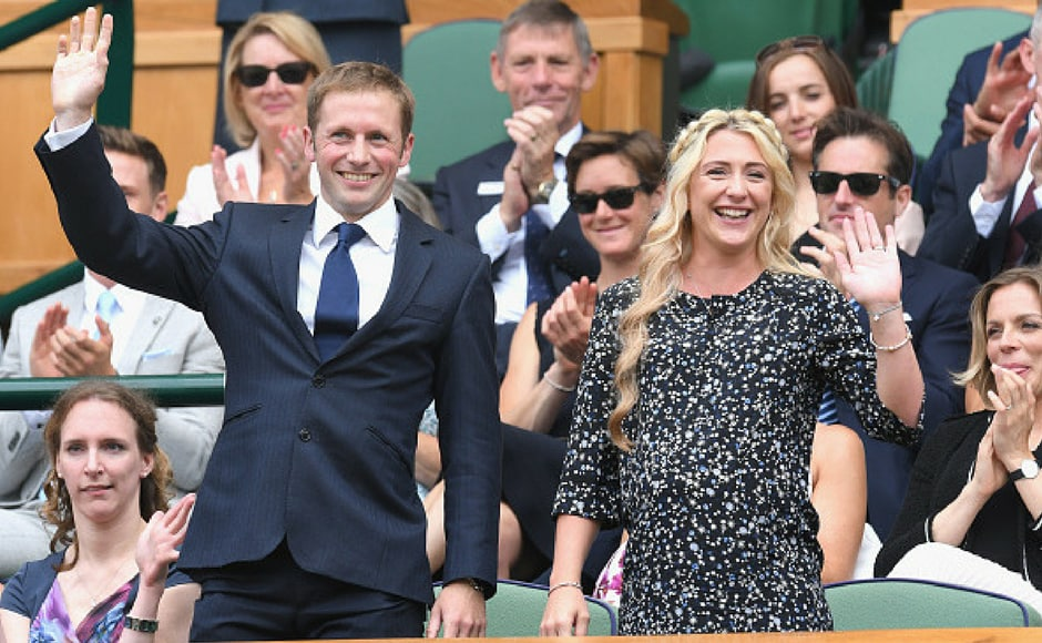 Jason Kenny and Laura Kenny attend day six of the Wimbledon Tennis Championships at the All England Lawn Tennis and Croquet Club on July 8, 2017 in London, United Kingdom. (Getty Images)