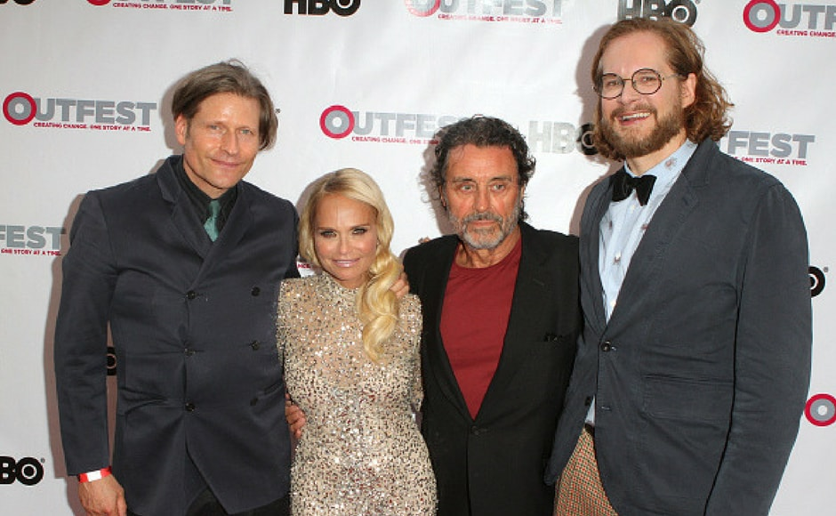 Actors Crispin Glover, Kristin Chenoweth, Ian McShane and writer Bryan Fuller attend the opening night gala of 'God's Own Country' at the 2017 Outfest Los Angeles LGBT Film Festival at Orpheum Theatre in Los Angeles, California. (Getty Images)