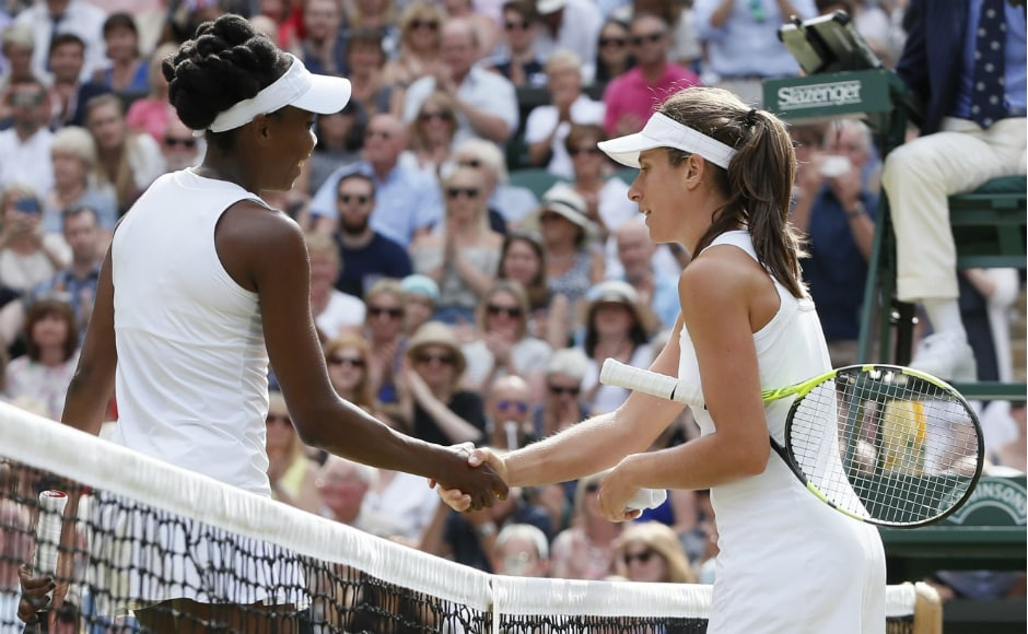 Venus Williams reached her ninth Wimbledon final and first since 2009 after beating Johanna Konta in the semi-final. AP