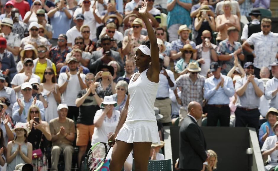 Five-time Wimbledon champion Venus Williams returned to the quarterfinals at the All England Club with a resounding victory over 19-year-old Ana Konjuh of Croatia. AP