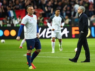 File image of Manchester United manager Jose Mourinho and Wayne Rooney. Reuters