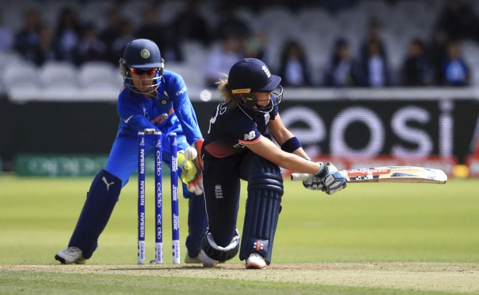 Lauren Winfield was bowled around her legs by India's Rajeshwari Gayakwad and gave India its first breakthrough AP
