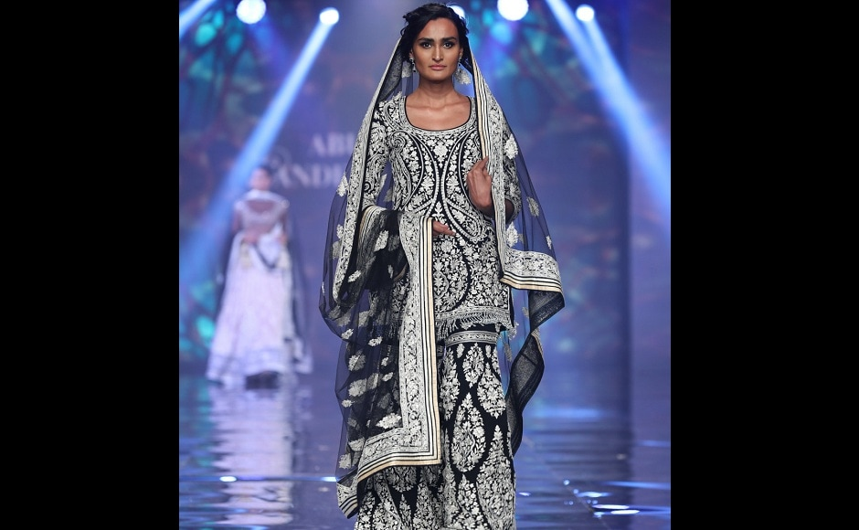 Another piece from their collection, displayed by a model on the ramp.
