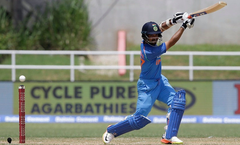 Ajinkya Rahane plays a shot during the fifth ODI against West Indies. AP