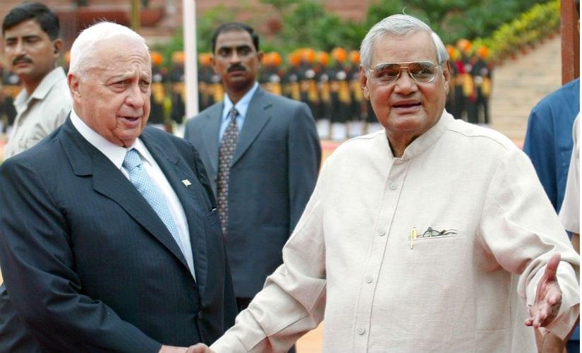 Former Israeli prime minister Ariel Sharon with his then counterpart Atal Bihari Vajpayee. Reuters