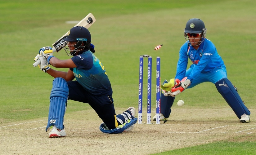 Chamari Atapattu is bowled out by India's Poonam Yadav. Reuters