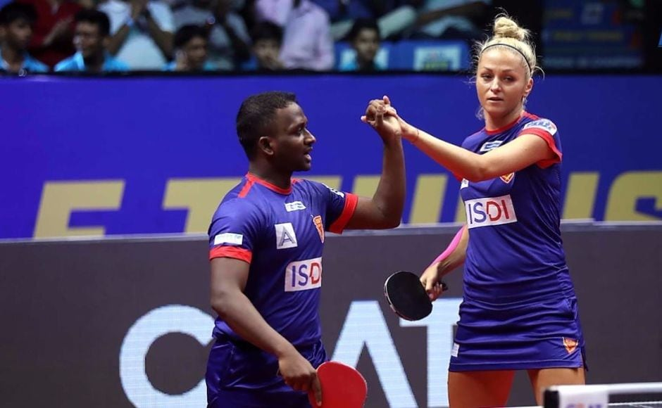 Dabang Smashers TTC continued their winning run without a hiccup. The mixed doubles pair of Anthony Amalraj and Tetyana Bilenko won their match against Harmeet Singh and Liu Jia to further their team's lead to 6-3. Image courtesy: www.ultimatetabletennis.in
