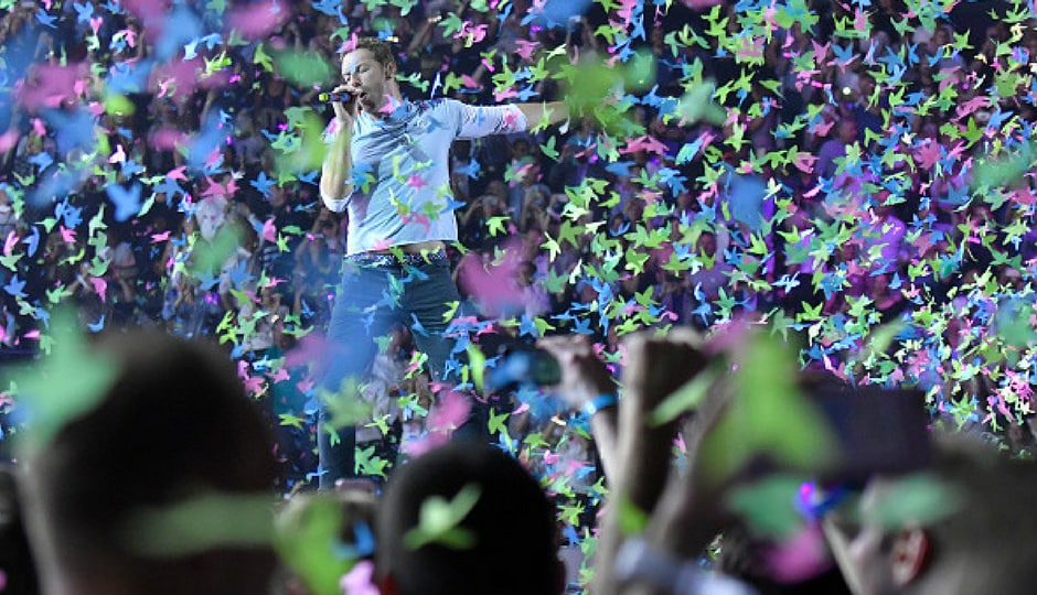 Chris Martin from Coldplay performs during the Global Citizen Festival at the Barclaycard Arena in Hamburg, Germany. (Getty Images)