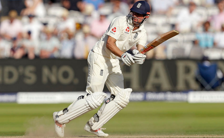England's Alastair Cook hits a shot during the first test between England and South Africa at Lord's cricket ground. AP