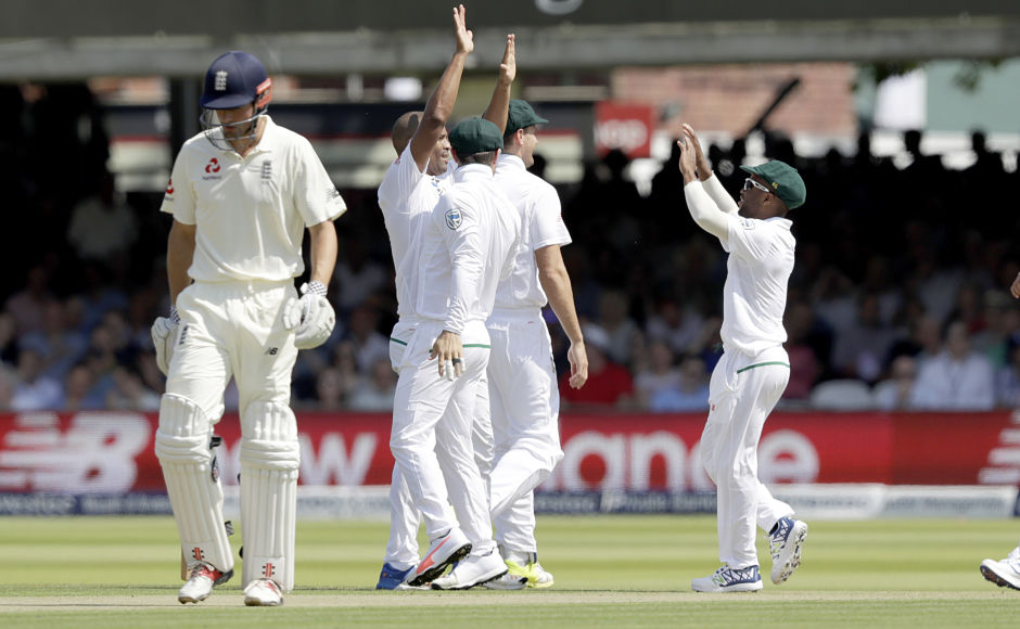 England got off to a wobbly start with both of its openers dismissed cheaply by South Africa's Vernon Philander(second from left) AP
