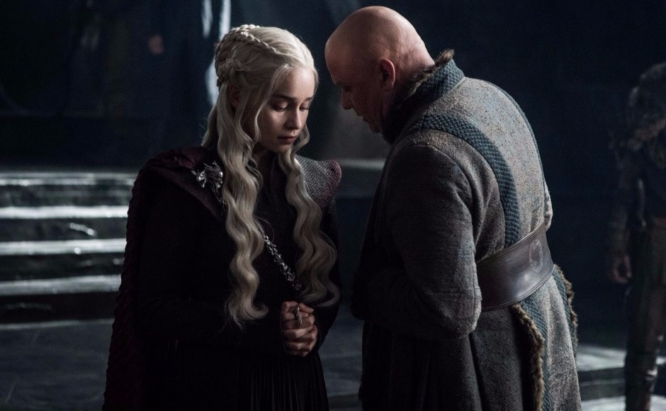 And is that Varys reporting back to Dany, on the results of that tete-a-tete with the Red Priestess? Image via HBO