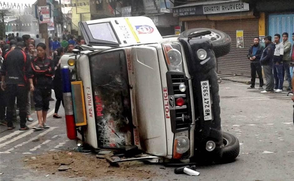 In Sunday's violence, a police vehicle was damaged during violence following the death a youth allegedly in police firing in Darjeeling. PTI